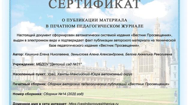 Сертификат о публикации в Вестнике Просвещения-1 2020