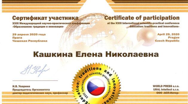 Сертификат участника XXIII МНПК Кашк 2020