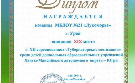 диплом губернаторские состязания 2014