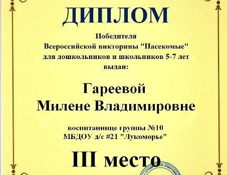 Гареевой Милене Владимировне