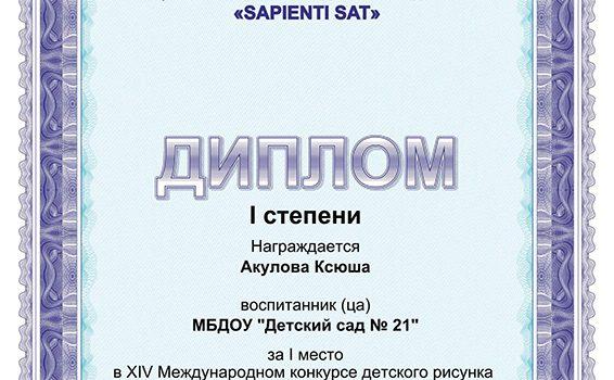 Акулова 1 место2017