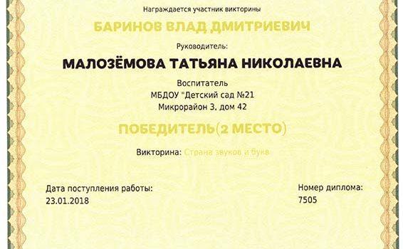 Баринов Влад 2018