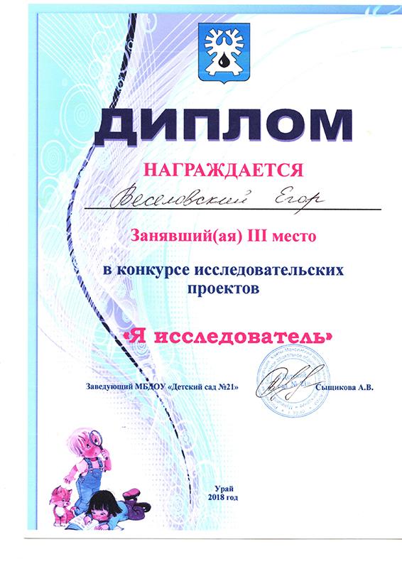 Веселовский Егор 2018
