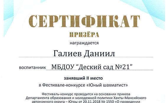 Галиев Д 2 место Шахматист 2018