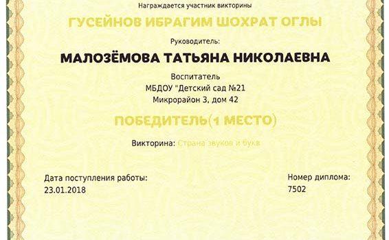 Гусейнов Ибрагим и Малоземова Т.Н.