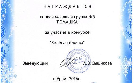 Диплом Зеленая ел 2016