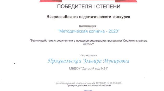 Диплом МЕТОДИЧЕСКАЯ КОПИЛКА-2020