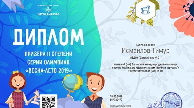 Исмаилов Тимур - диплом 2019