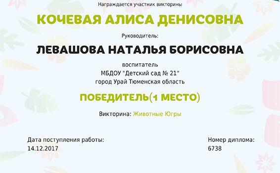 Кочевая А. Левашова 2017