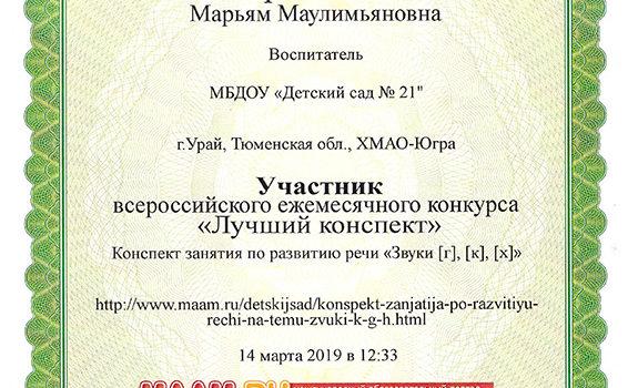 Лучший конспект 2019 Зартдинова