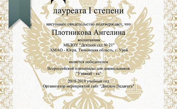 Плотникова Ангелина 2019