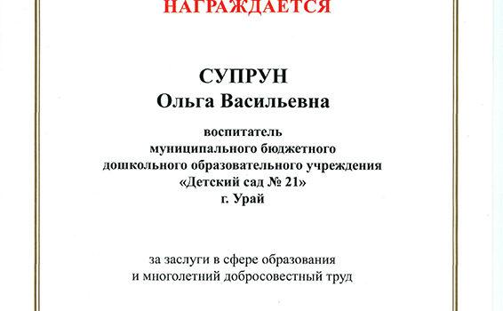 Почетная грамота Министерства супр 2017
