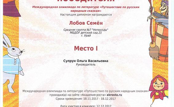 Путешествие по русским народным сказкам супр 2017