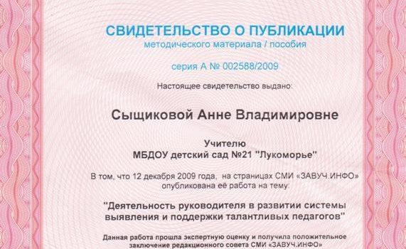 Свидетельство Сыщикова А.В.