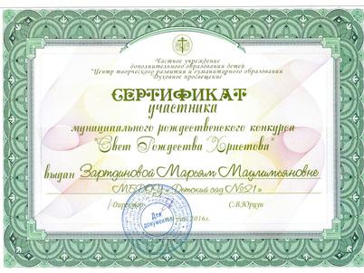 Сертификат Зартдинова 2016
