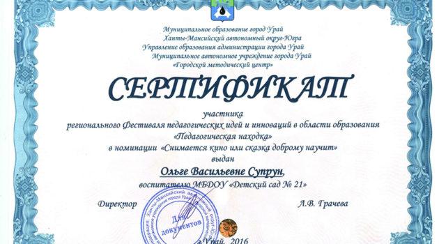 Сертификат Педагогическая находка супр 2016