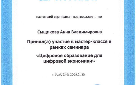 Сертификат ЦИФРОВОЕ ОБРАЗОВАНИЕ ДЛЯ ЦИФРОВОЙ ЭКОНОМИКИ 2020