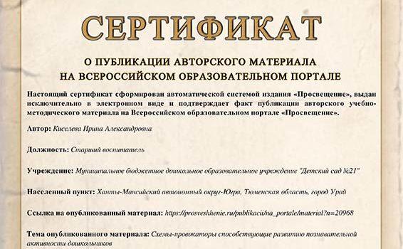 Сертификат о публикации 2019