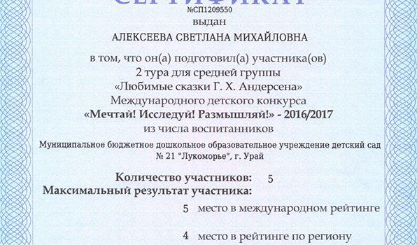 Сертификат турнир Андерсена 2017