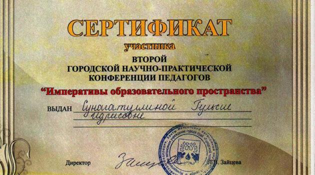 Сертификат 2010