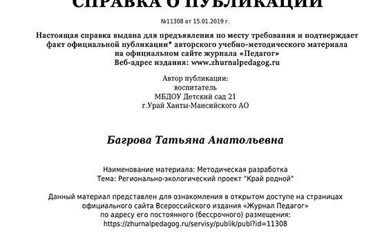 Справка о публикации Журнал педагог Багрова