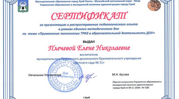 ТРИЗ Плечева Е.Н. 2018