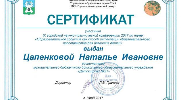 Сертификат конференция