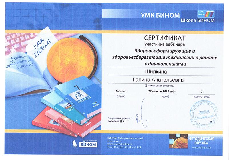 Шилкина сертификат