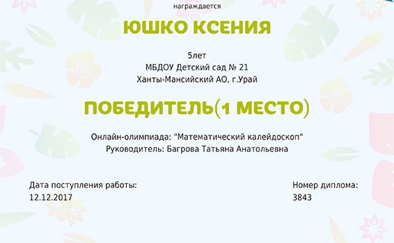 Юшко Ксения 2017