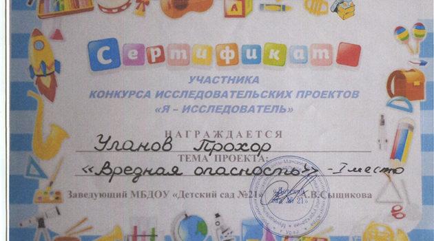 Я-исследователь Уланов Прохор2019