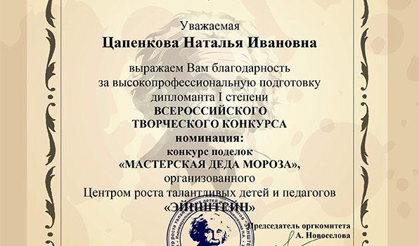 благодарность-Цапенкова Наталья Ивановна2017