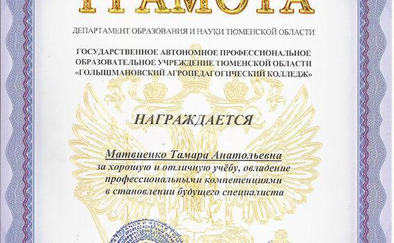 грамота Матвиенко 2018