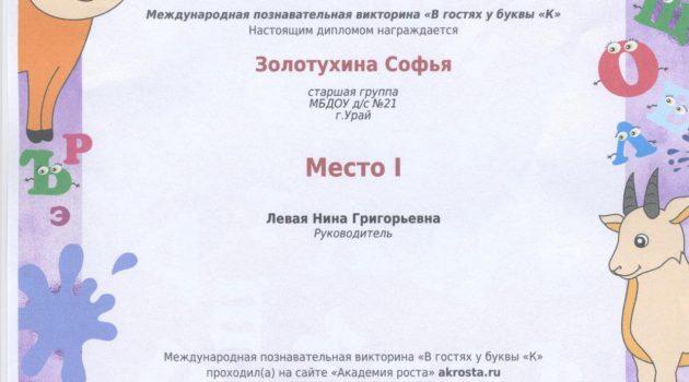 диплом Золотухина 1 место