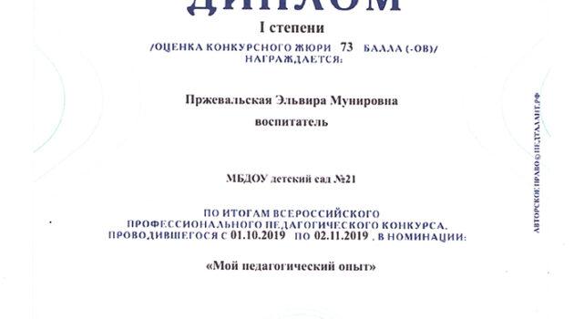 диплом МОЙ ПЕДАГОГИЧЕСКИЙ ОПЫТ2019
