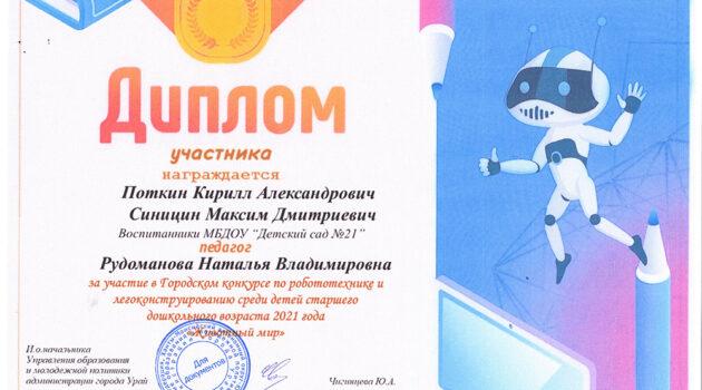 диплом РОБОТОТЕХНИКА И ЛЕГОКОНСТРУИРОВАНИЕ Поткин,Синицин (Рудоманова)2021