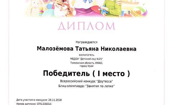 занятия по лепке Малоземова 2018