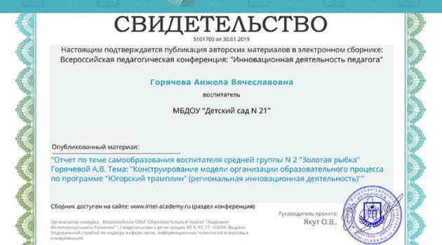 сертификат о самоотчете 2019
