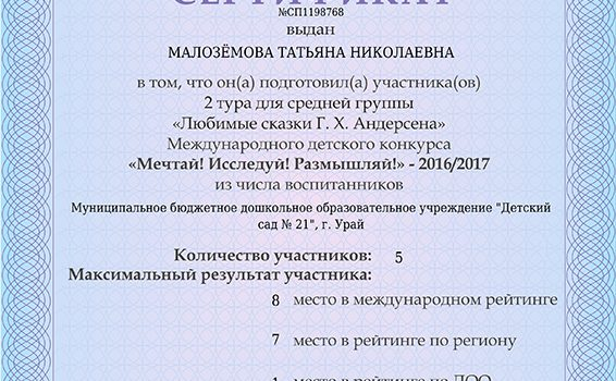 Мечтай, исследуй, Малоземова