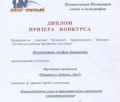 Диплом призера конкурса