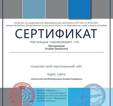 Сертификат персональный сайт