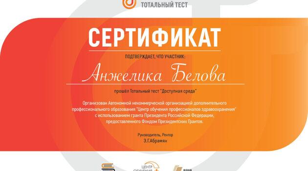 certificate Доступная среда 2019