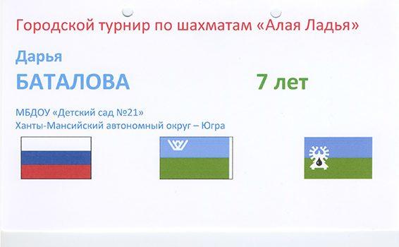 Городской турнир по шахматам Баталова Дарья