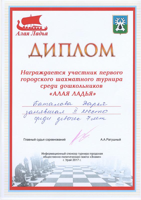 Диплом Алая Ладья Баталова Дарья