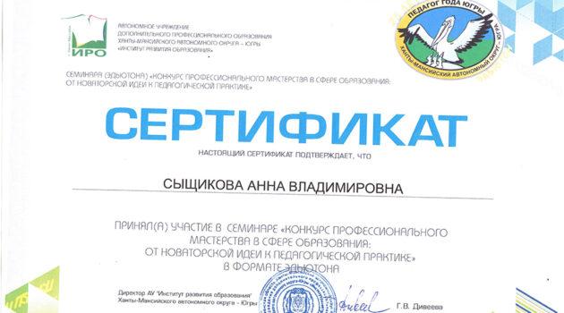 сертификат профмастерство Сыщикова А.В 2020